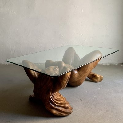 Vintage Hand-Carved Wooden Female Nude Sculpture Coffee Table