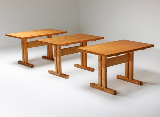 Unique collection of 10 pine Charlotte Perriand tables, 1960's