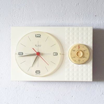White plastic wall clock by Weimar, GDR 1960s