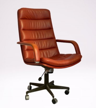 Cognac leather 'Channel' office armchair by Geoffrey Harcourt for Artifort, 1970s