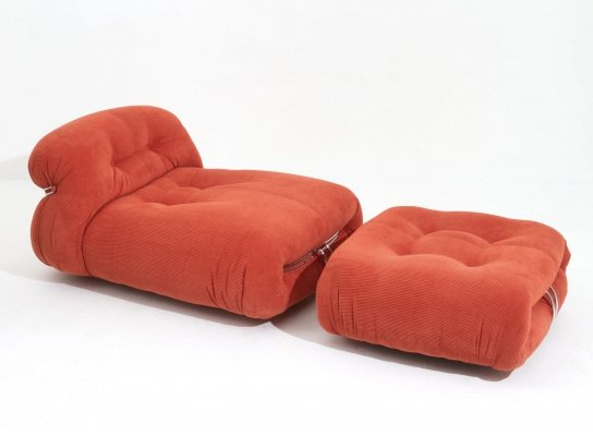 Afra & Tobia Scarpa 'Soriana' Chaise Lounge Chair with Ottoman in red corduroy
