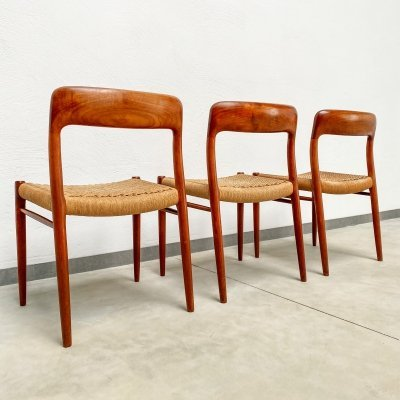 Set of 3 Danish Teak Dining Chairs Modell No. 75 by Niels Møller, 1960s