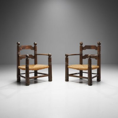 Wood & Wicker Turned Chairs with Ornamentation by Charles Dudouyt, France 1940