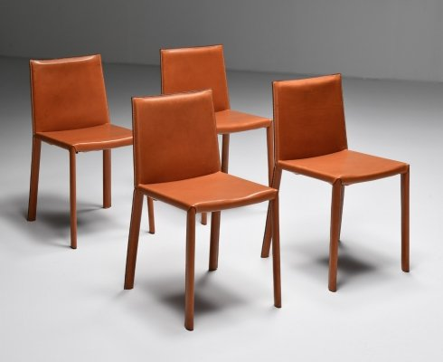 Set of 8 Arrben Italy Dining Chairs, 1970's
