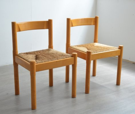 Pair of Carimate Dining Chairs by Vico Magistretti