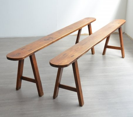 Pair of Large French Benches, 1950s