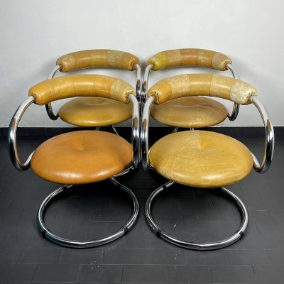 Set of 4 vintage dining chairs by Tecnosalotto Bancole Mantova, Italy 1970