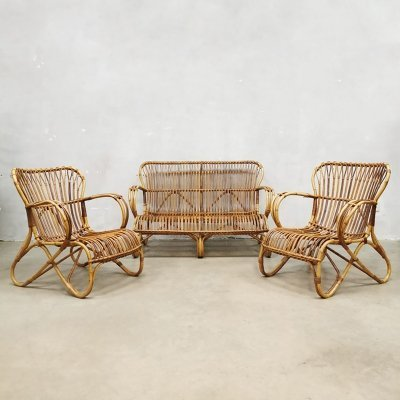 Vintage rattan bamboo sofa & chairs by Rohé Noordwolde, 1970s