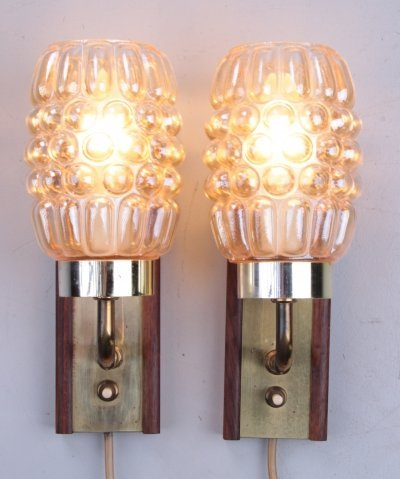 Set of Danish Wall lamps in teak with brass & glass
