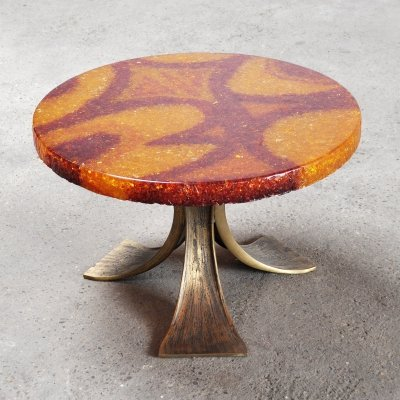 Vintage Resin Top Coffee Or Side Table, France 1970's