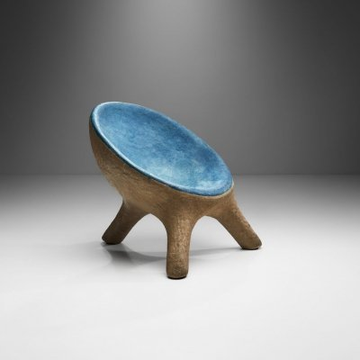 Tripod Chair in Blue & Gray Resin, France 1970s