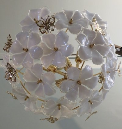 Hanging lamp with Murano glass flowers, 1970s