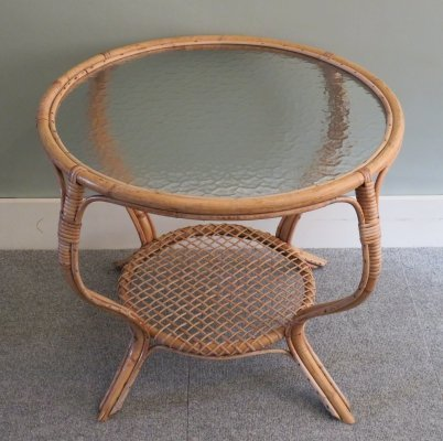 Round bamboo & glass coffee table, France 1960s