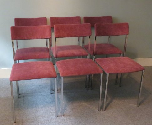Set of 6 Italian dining chairs, 1970s