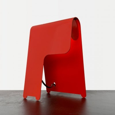 Red Metal 1980s Table Lamp
