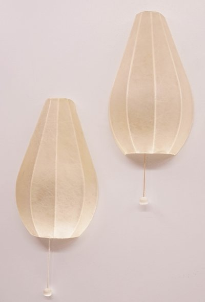 Set of 2 Vintage Cocoon Wall Lights, 1950s
