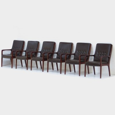Set of 6 leather executive conference chairs by Eugen Schmidt, 1960s