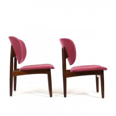 Pair of 1950s Danish Easychairs with Shell Backrests