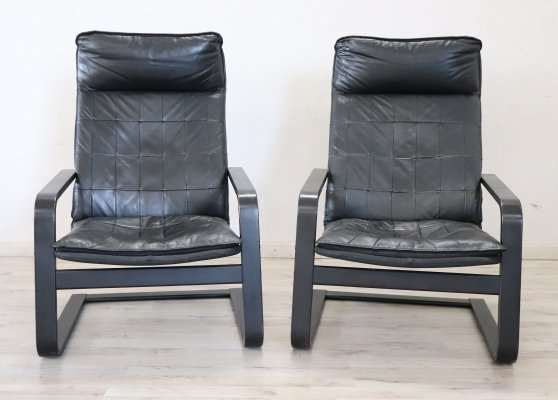 Pair of Italian Lounge Chairs in Black Leather, 1970s