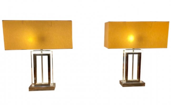 Pair of mid century heavy chrome table lamps
