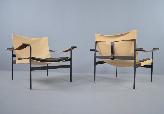 Tecta D99 canvas & leather lounge chairs by Hans Konecke, 1965