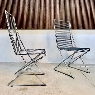 'Kreuzschwinger' Coated Steel Wire Stacking Chairs by Till Behrens for Schlubach