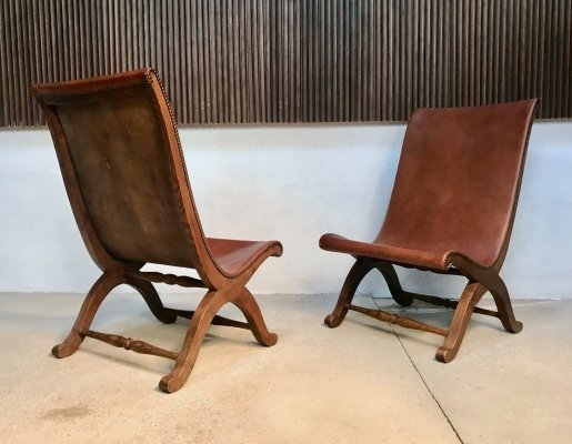 Pair of Spanish High-Back Leather & Oak Slipper Chairs by Pierre Lottier, 1950s