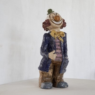 Large clown figure in glazed clay, 1970s