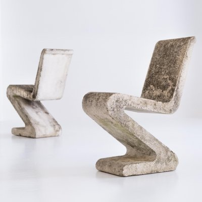 Pair of Concrete Garden Chairs, 1970s
