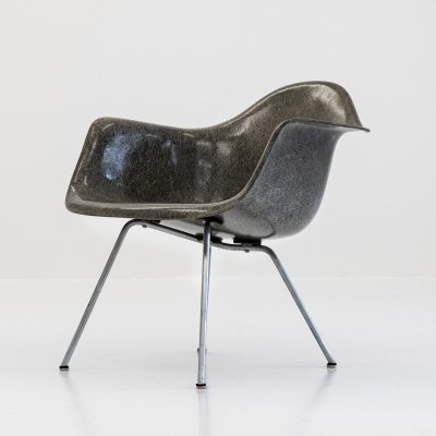 Elephant hide grey LAX Low/Lounge Height Armchair X-Base by Charles & Ray Eames for Zenith Plastics, 1950s