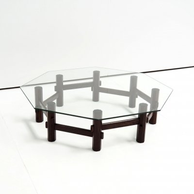 Italian styled coffee table in rosewood with glass top, 1960s