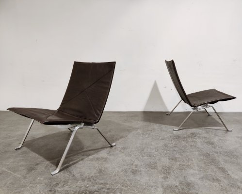 Pair of Vintage PK 22 Lounge Chairs by Poul Kjærholm for E. Kold Christensen, 1960s