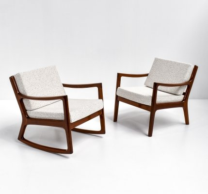 Ole Wanscher set of Rocking Chair & Easy Chair