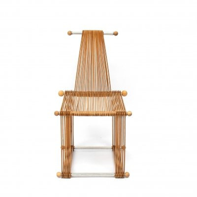 Rare wooden vintage slatted popsicle stick design chair, prototype 1980s