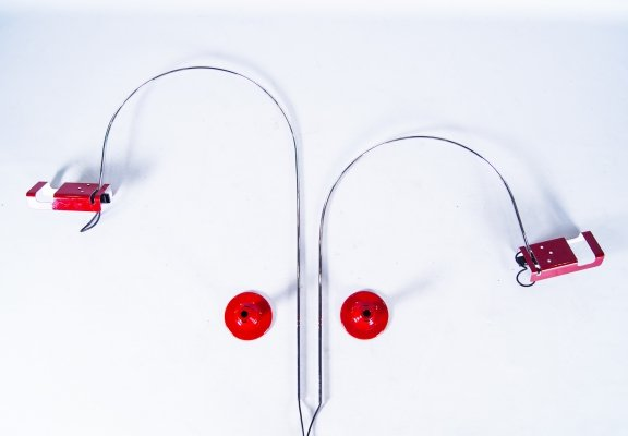Set of 2 Joe Colombo for Oluce Spider wall lamps, 1960s