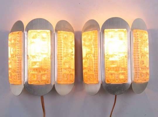 Set of Vitrika wall lamps in brass & glass, 1960s