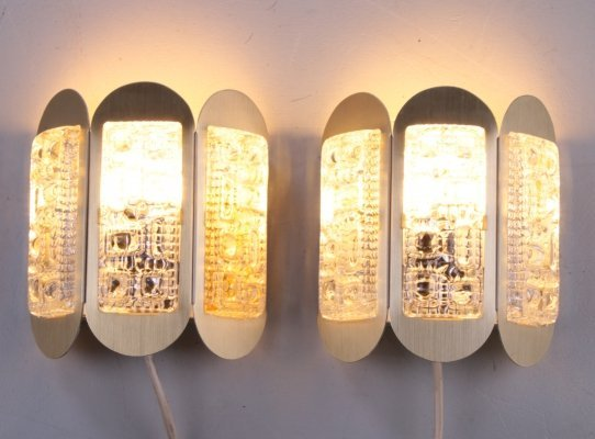 Set of Wall Lamps by Vitrika in aluminum & glass, 1960s