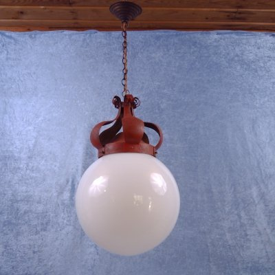 Globe opaline glass lamp with red metal crown gallery, Denmark 1920s
