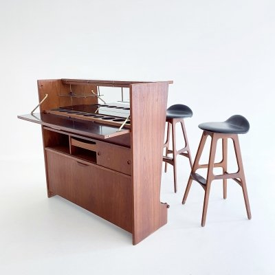 Bar cabinet with 2 stools by Johannes Andersen, Denmark 1960's