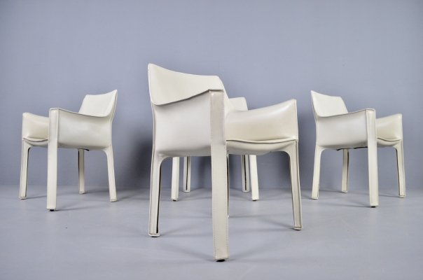 Set of 4 Cassina Cab 413 Ivory leather dining chairs by Mario Bellini, 1977