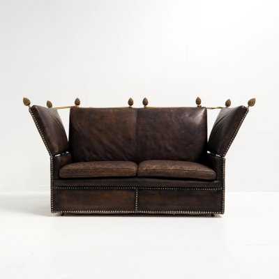 Early 20th century Knole sofa in leather