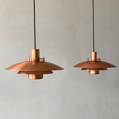 Pair of Danish copper 'type 52585' Form-Light hanging lamps, 1970s