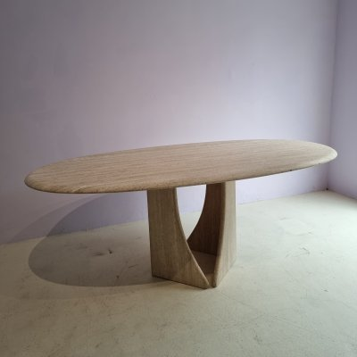 Oval Travertine Dining Table, 1980s