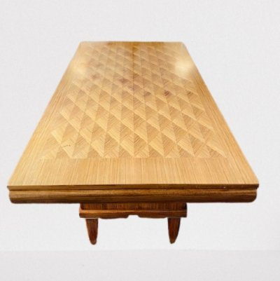Palisander dining table with a diamond inlaid top & brass trimmed feet