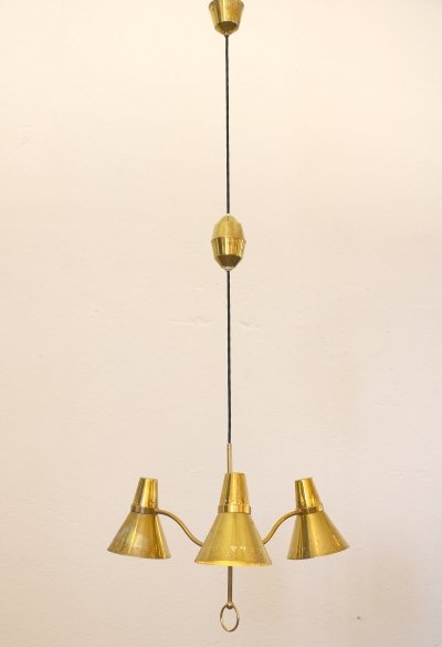 Height adjustable brass chandelier by AB. E. Hansson & Co. Malmö Sweden 1950s
