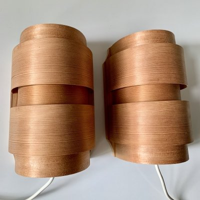 Pair of organically shaped wall lamps/sconces in laminated pine by Translandia