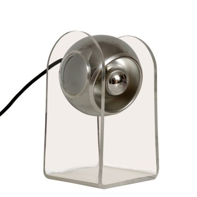Plexiglass & chrome space age table lamp by Insta gmbh, Germany 1970's