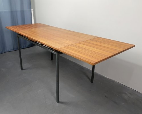 Teak Extension Table with Metal Frame by Lübke, 60s