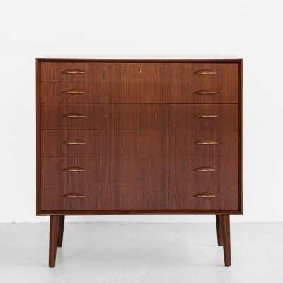 Midcentury Danish wider chest of 6 drawers in teak by Johannes Sorth for Nexø