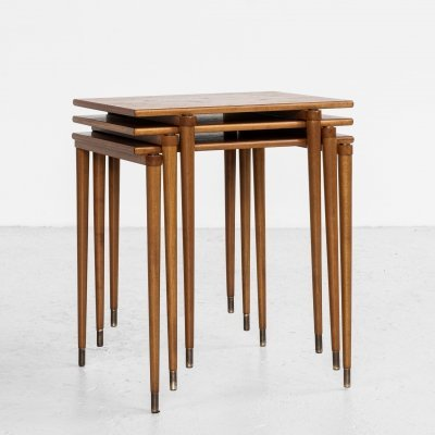 Midcentury Swedish nest of 3 side tables by Ljungqvist, 1960s
